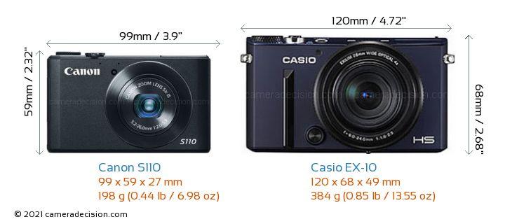 Canon S110 vs Casio EX-10 Camera Size Comparison - Front View
