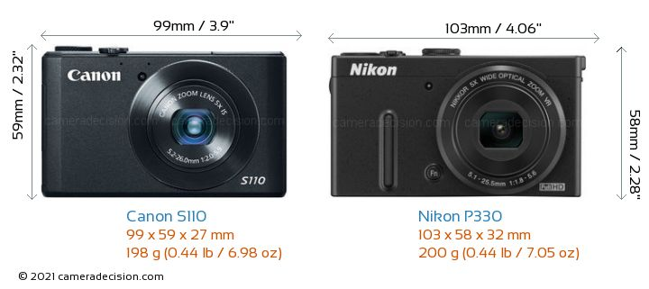 Canon S110 vs Nikon P330 Camera Size Comparison - Front View