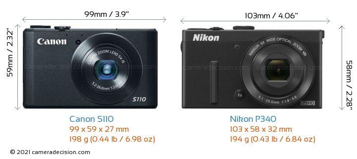 Canon S110 vs Nikon P340 Camera Size Comparison - Front View