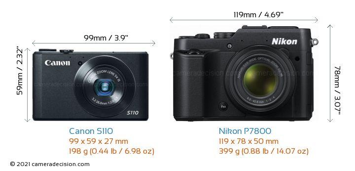 Canon S110 vs Nikon P7800 Camera Size Comparison - Front View