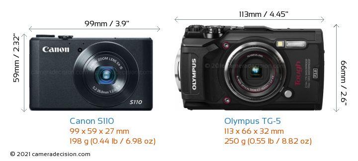 Canon S110 vs Olympus TG-5 Camera Size Comparison - Front View