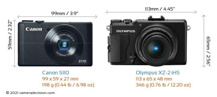 Canon S110 vs Olympus XZ-2 iHS Camera Size Comparison - Front View