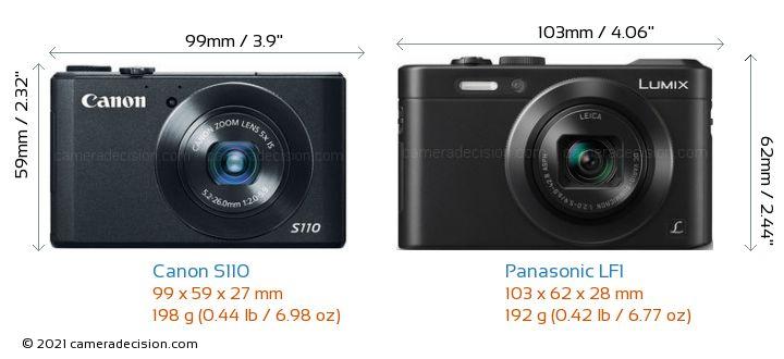 Canon S110 vs Panasonic LF1 Camera Size Comparison - Front View