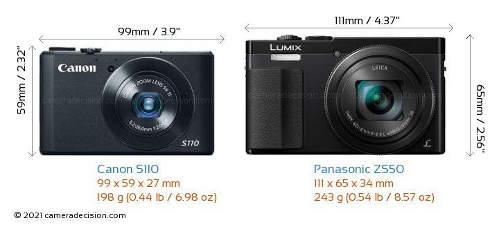 Canon S110 vs Panasonic ZS50 Camera Size Comparison - Front View