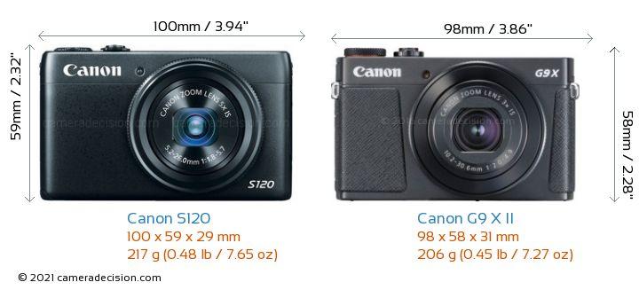 Canon S120 vs Canon G9 X II Camera Size Comparison - Front View