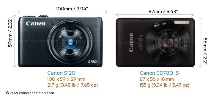 Canon S120 vs Canon SD780 IS Camera Size Comparison - Front View