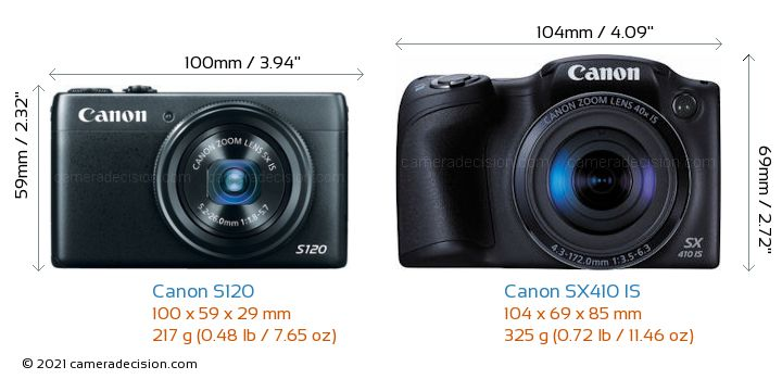 Canon S120 vs Canon SX410 IS Camera Size Comparison - Front View