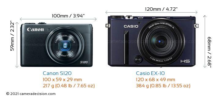 Canon S120 vs Casio EX-10 Camera Size Comparison - Front View