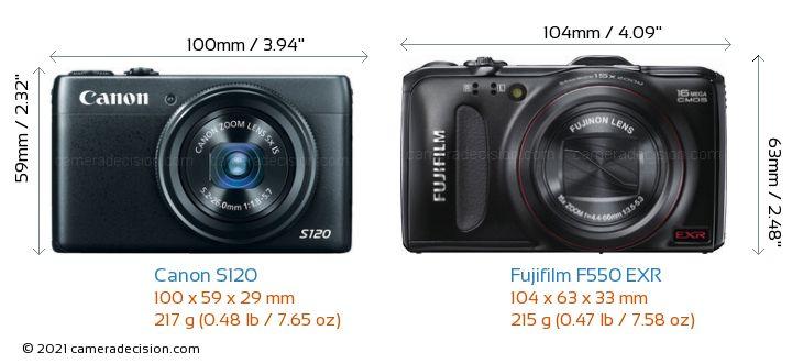 Canon S120 vs Fujifilm F550 EXR Camera Size Comparison - Front View
