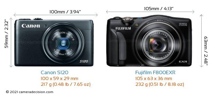 Canon S120 vs Fujifilm F800EXR Camera Size Comparison - Front View