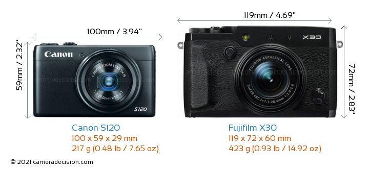 Canon S120 vs Fujifilm X30 Camera Size Comparison - Front View