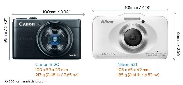 Canon S120 vs Nikon S31 Camera Size Comparison - Front View