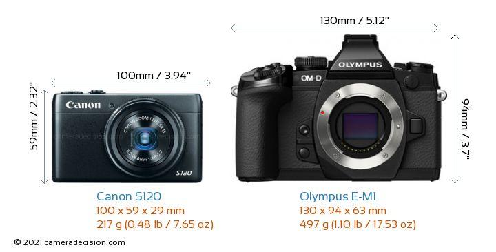 Canon S120 vs Olympus E-M1 Camera Size Comparison - Front View