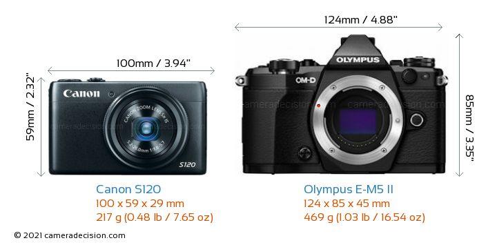 Canon S120 vs Olympus E-M5 II Camera Size Comparison - Front View