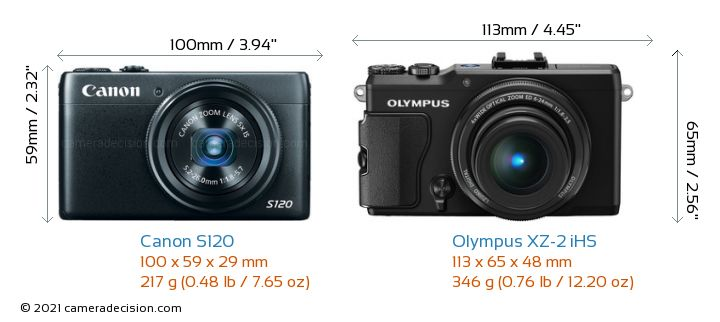 Canon S120 vs Olympus XZ-2 iHS Camera Size Comparison - Front View