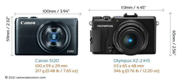 Canon S120 vs Olympus XZ-2 iHS Camera Size Comparison - Front View
