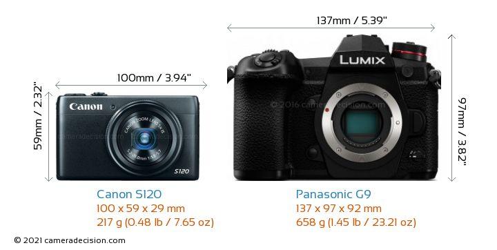Canon S120 vs Panasonic G9 Camera Size Comparison - Front View