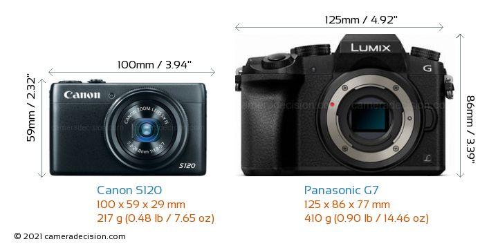 Canon S120 vs Panasonic G7 Camera Size Comparison - Front View