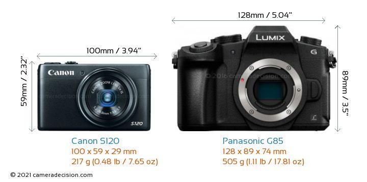 Canon S120 vs Panasonic G85 Camera Size Comparison - Front View