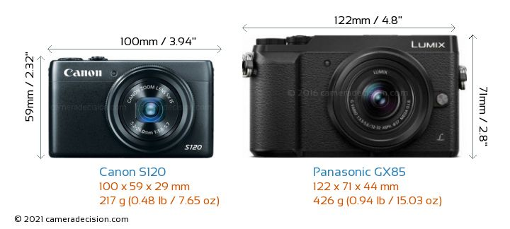 Canon S120 vs Panasonic GX85 Camera Size Comparison - Front View