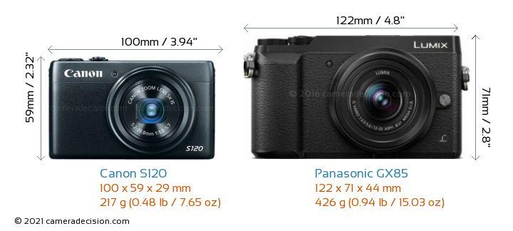 Canon S120 vs Panasonic GX85 Camera Size Comparison - Front View
