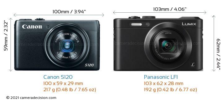 Canon S120 vs Panasonic LF1 Camera Size Comparison - Front View
