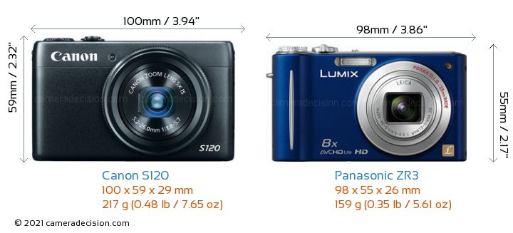 Canon S120 vs Panasonic ZR3 Camera Size Comparison - Front View