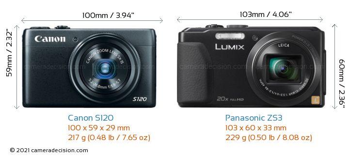 Canon S120 vs Panasonic ZS3 Camera Size Comparison - Front View