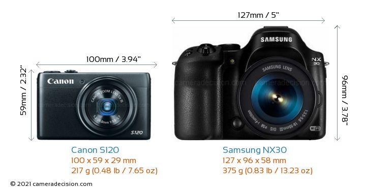 Canon S120 vs Samsung NX30 Camera Size Comparison - Front View