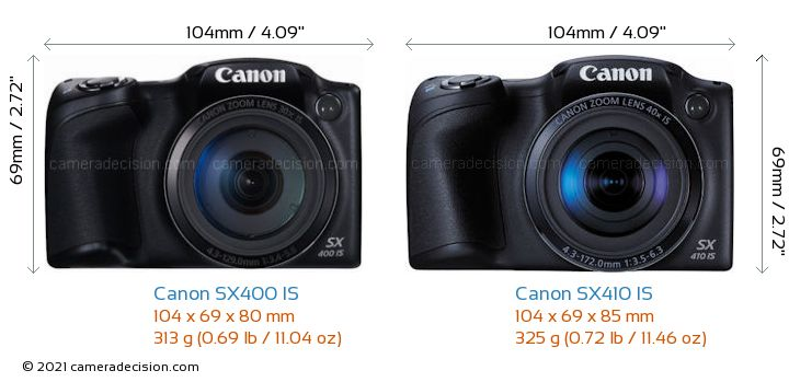 Canon SX400 IS vs Canon SX410 IS Camera Size Comparison - Front View