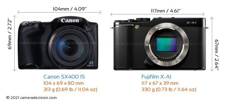 Canon SX400 IS vs Fujifilm X-A1 Camera Size Comparison - Front View