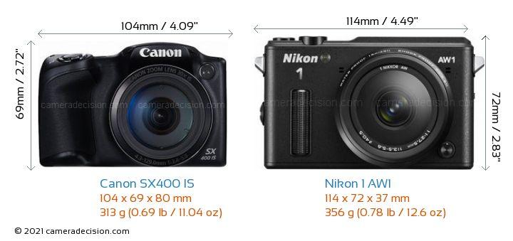 Canon SX400 IS vs Nikon 1 AW1 Camera Size Comparison - Front View