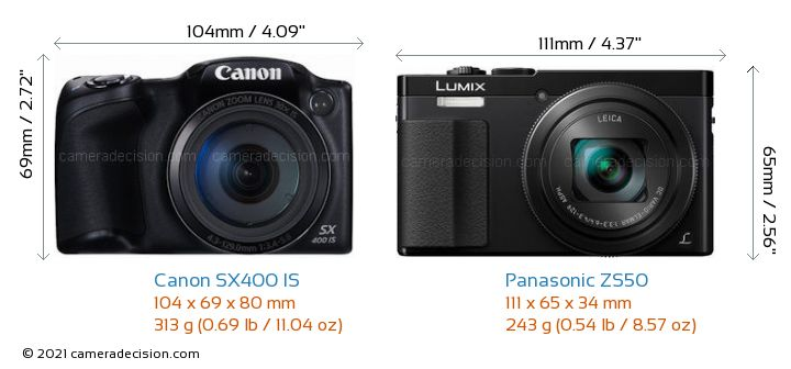 Canon SX400 IS vs Panasonic ZS50 Camera Size Comparison - Front View