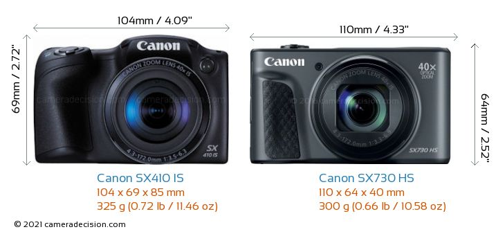 Canon SX410 IS vs Canon SX730 HS Camera Size Comparison - Front View