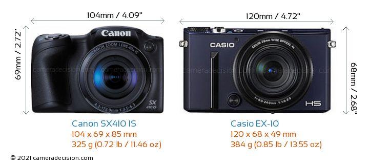 Canon SX410 IS vs Casio EX-10 Camera Size Comparison - Front View