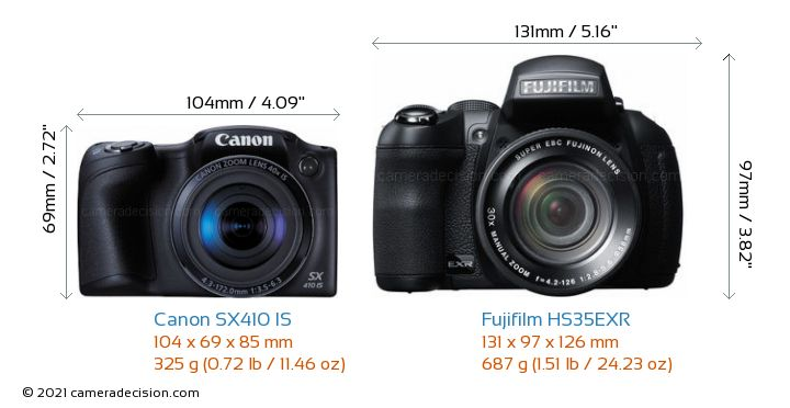 Canon SX410 IS vs Fujifilm HS35EXR Camera Size Comparison - Front View
