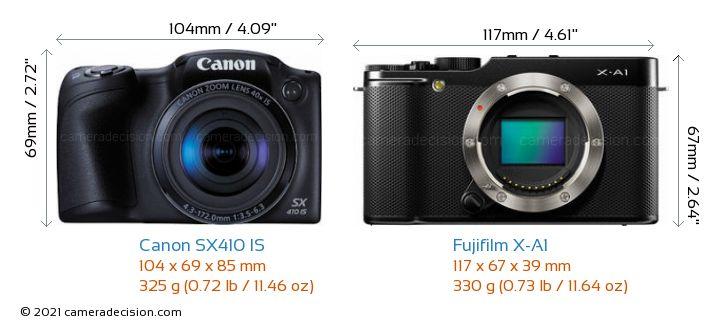 Canon SX410 IS vs Fujifilm X-A1 Camera Size Comparison - Front View