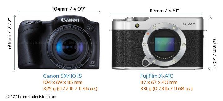 Canon SX410 IS vs Fujifilm X-A10 Camera Size Comparison - Front View