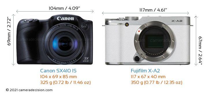 Canon SX410 IS vs Fujifilm X-A2 Camera Size Comparison - Front View