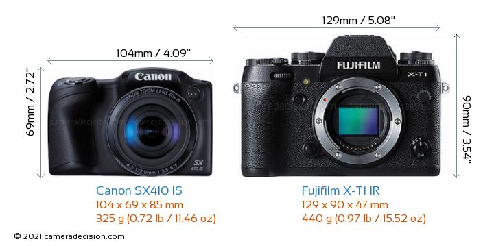 Canon SX410 IS vs Fujifilm X-T1 IR Camera Size Comparison - Front View