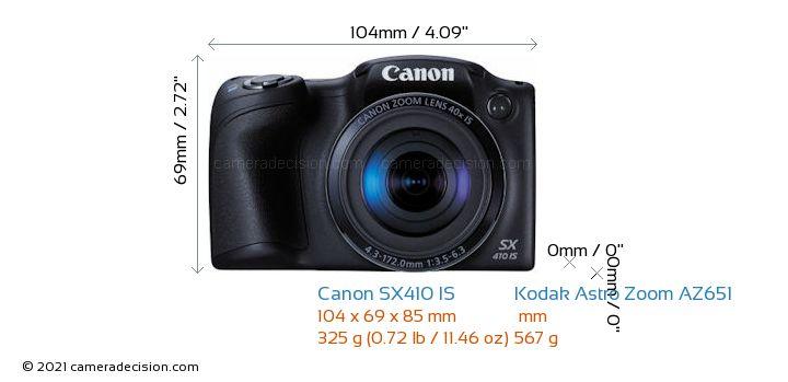 Canon SX410 IS vs Kodak Astro Zoom AZ651 Camera Size Comparison - Front View