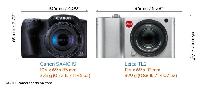 Canon SX410 IS vs Leica TL2 Camera Size Comparison - Front View