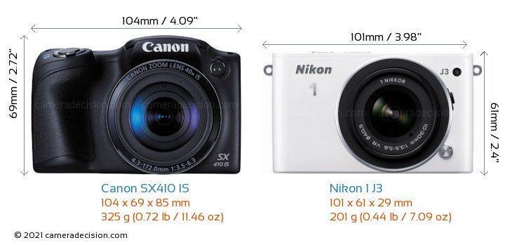 Canon SX410 IS vs Nikon 1 J3 Camera Size Comparison - Front View