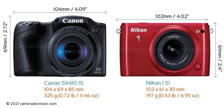 Canon SX410 IS vs Nikon 1 S1 Camera Size Comparison - Front View