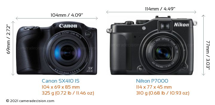 Canon SX410 IS vs Nikon P7000 Camera Size Comparison - Front View