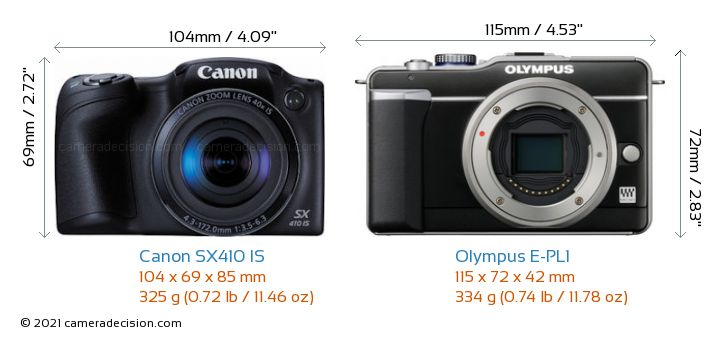 Canon SX410 IS vs Olympus E-PL1 Camera Size Comparison - Front View