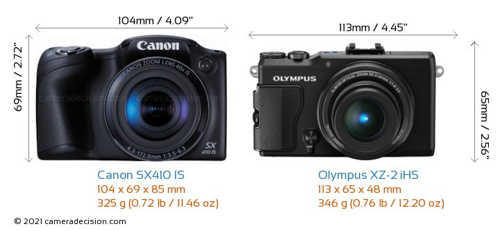 Canon SX410 IS vs Olympus XZ-2 iHS Camera Size Comparison - Front View