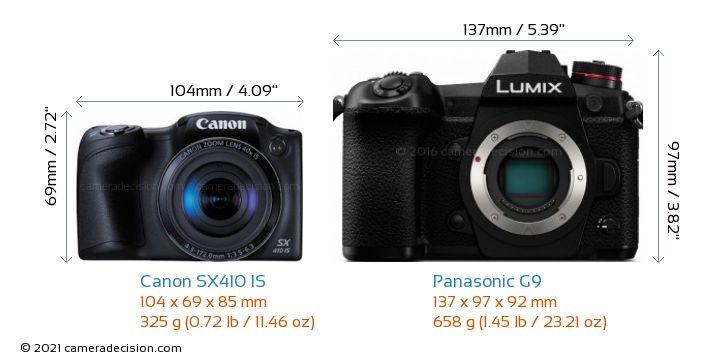 Canon SX410 IS vs Panasonic G9 Camera Size Comparison - Front View