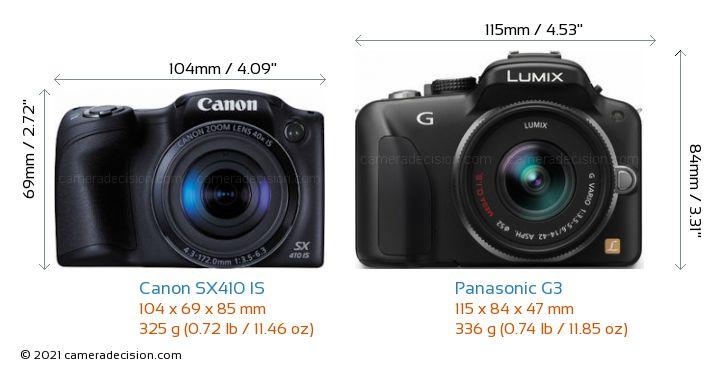 Canon SX410 IS vs Panasonic G3 Camera Size Comparison - Front View