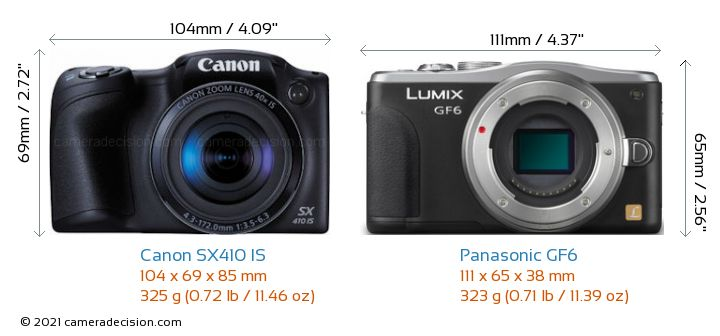 Canon SX410 IS vs Panasonic GF6 Camera Size Comparison - Front View